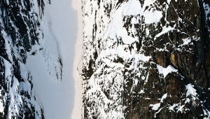 photo: Damian Cromwell; skier JD Hare at Middle Earth, Tantalus Range, BC