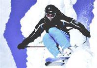 Skiier with helmet