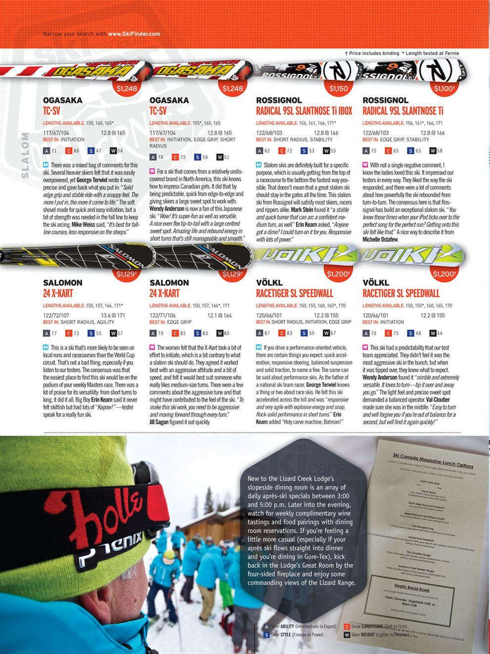 7bee46e9efdc Slalom   Test 2013  Ski Canada Magazine