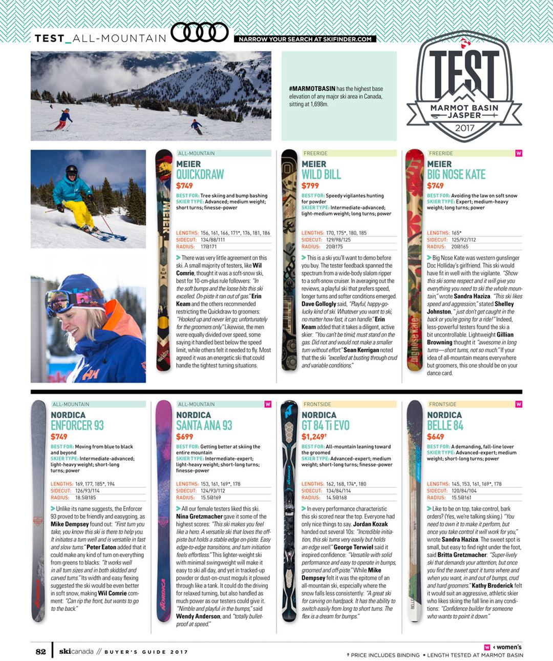 All-Mountain Test 2017/ Ski Canada Magazine