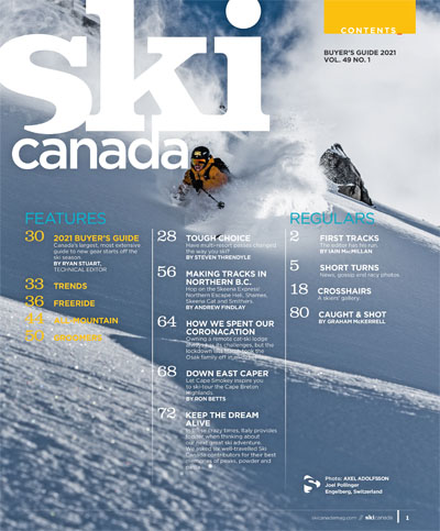 Ski Canada Buyer's Guide 2021 Contents